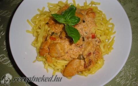Sült csirkemell olasz sajtmártással recept fotóval
