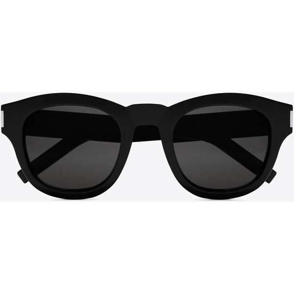 Saint Laurent Bold 2 Sunglasses ($395) ❤ liked on Polyvore featuring accessories, eyewear, sunglasses, thick glasses, yves saint laurent, round lens sunglasses, thick lens glasses and round frame sunglasses