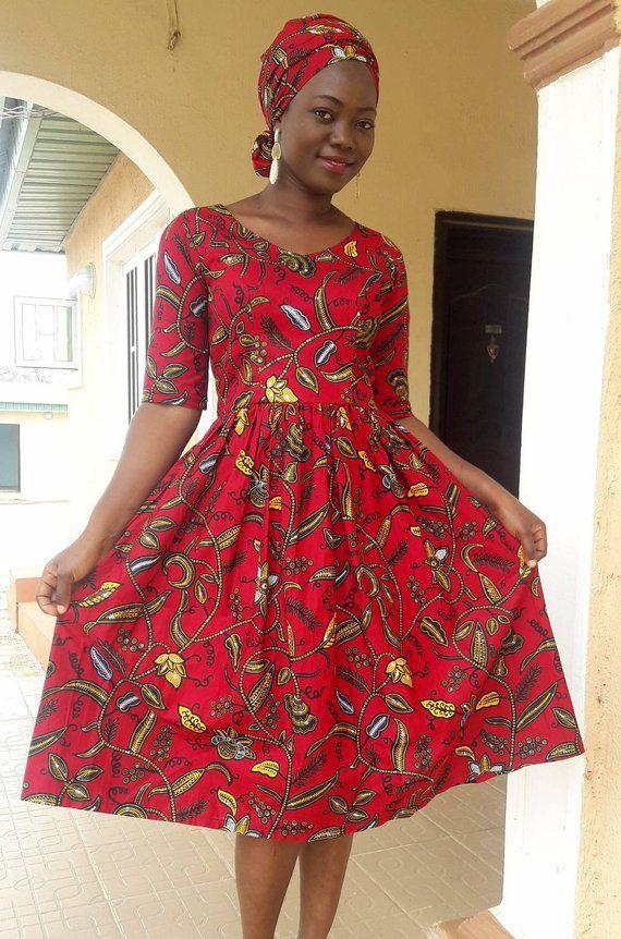 African Print Senegal Midi Dress: Tawa African Skater Dress,African Midi Dress,Ankara Midi