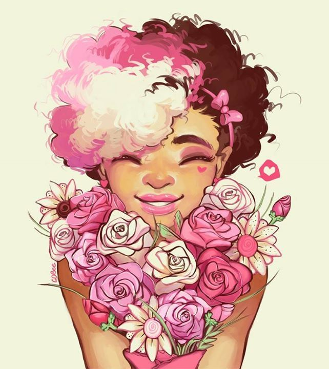 Afro girl with a rose bouquet pink art inspiration for Amazing drawings of roses