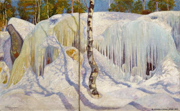 Pekka Halonen – Rock Covered in Ice and Snow 1911 (oil) (from On the Shores of the Lake @Restaurantul Neda Ateneum Art Museum, Helsinki)
