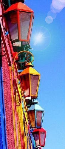La Boca. Buenos Aires., the the colors of the street lights