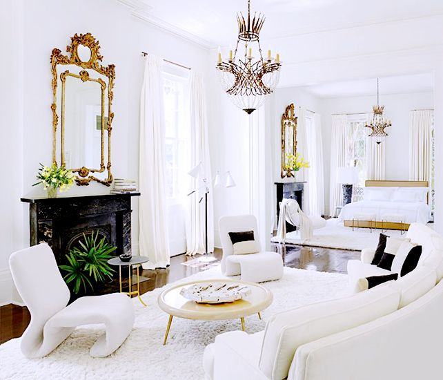 From Art to Lighting — How To Decorate Like an It Girl// All-white bedroom, gilt mirror: Interiors, Livingroom, Living Room, White Bedrooms, Master Bedrooms, New Orleans Home, White Gold, Architecture Digest, Decor Blog