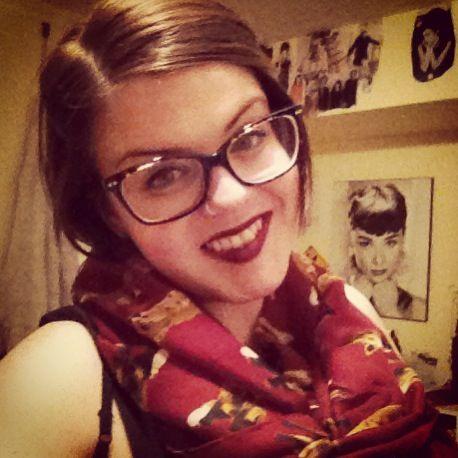 Fox scarf, glasses, Bordeaux lips.