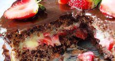 Bolo de Chocolate com Recheio de Beijinho e Morangos