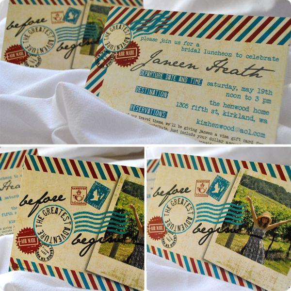 travel theme airmail bridal shower invitations #Rosita Designs