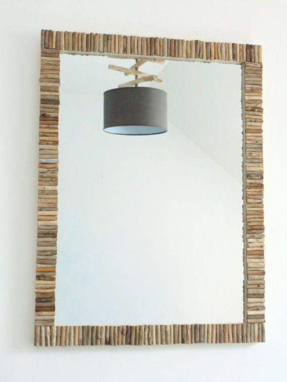 Miroir bois flotté - 78 x 58 cm - création unique - trés grand - rectangle