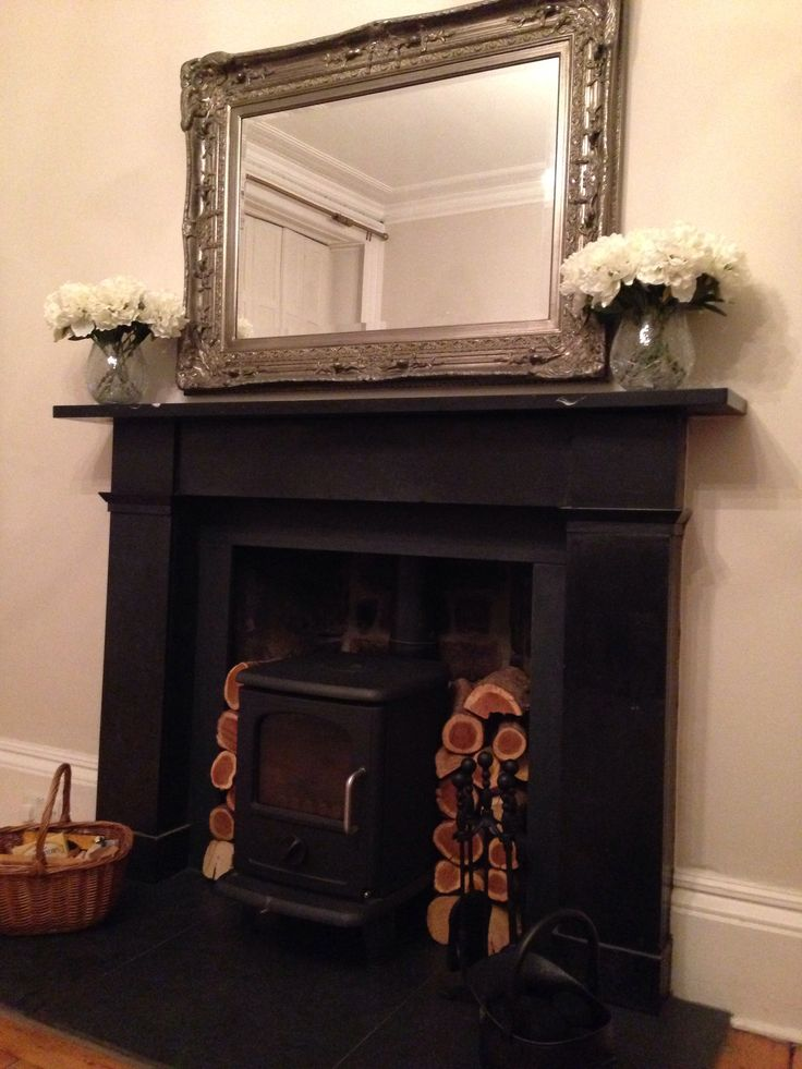 Fireplace log burner fire mirror flowers warm