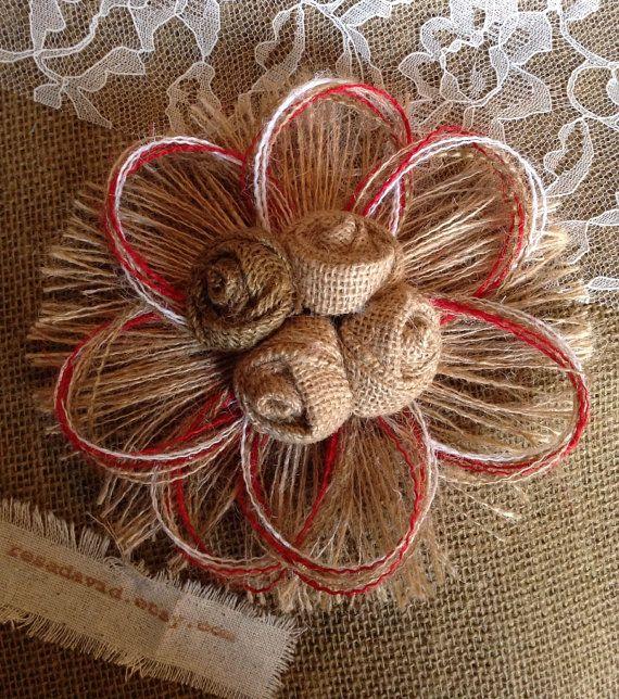 Rustic Burlap Rosette Flower  Red by resadavid on Etsy
