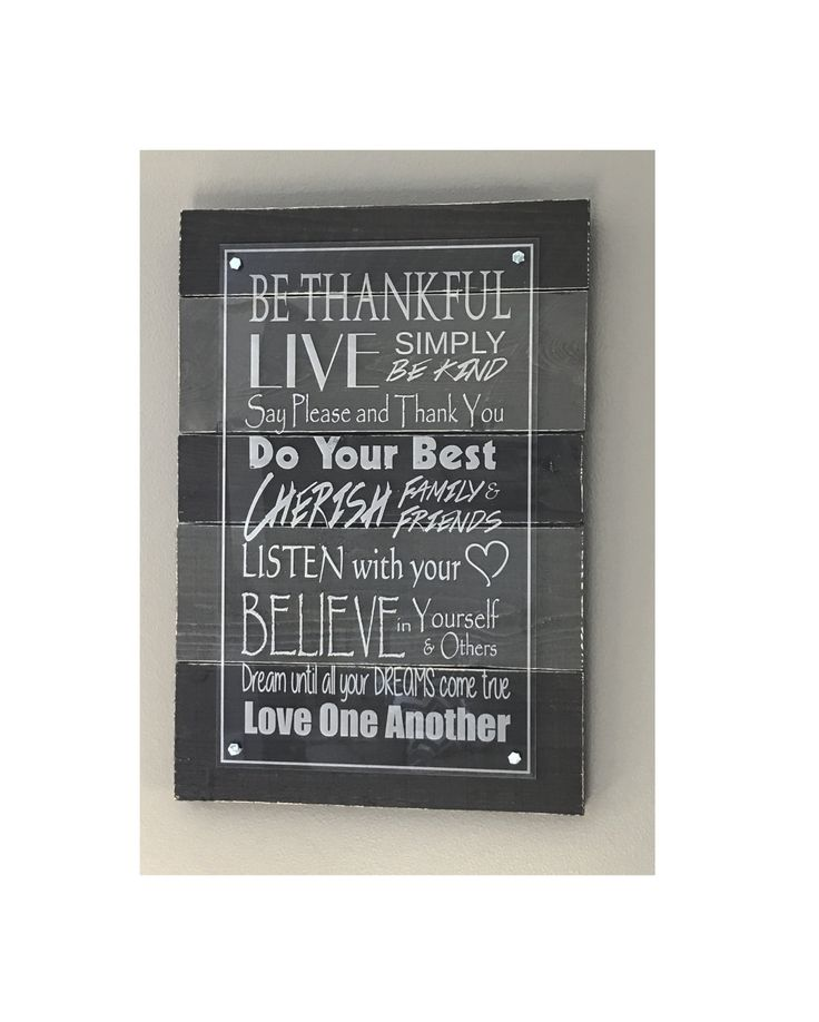 Rustic Pallet Decor / Laser Engraved on Cast Acrylic - Be Thankful .... Love One Another Wall Decor by DakotaExpressions1 on Etsy