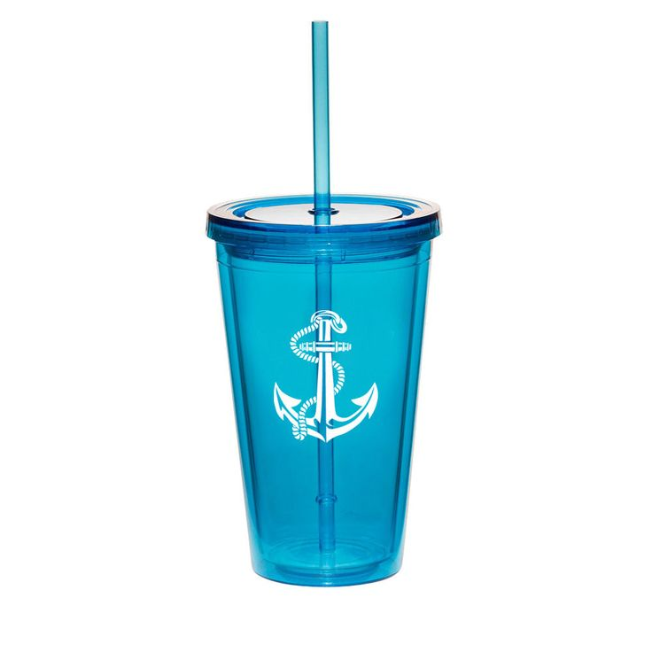 16Oz Double Wall Acrylic Tumbler Pool Beach Cup With Straw Anchor With Rope