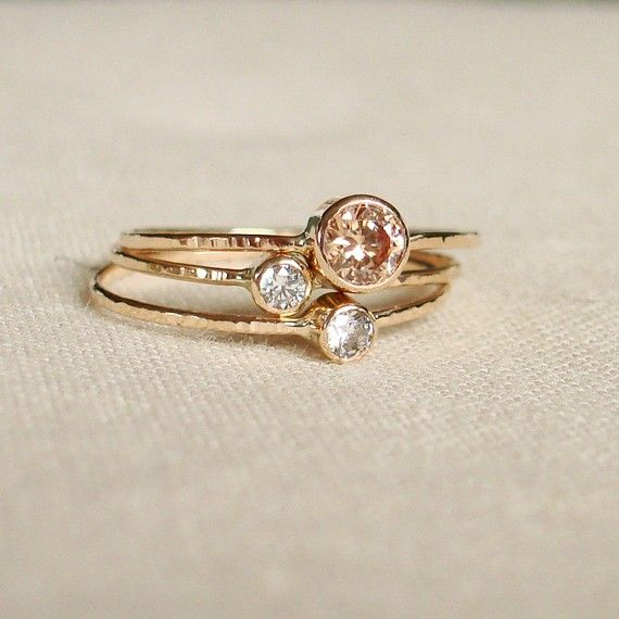 stacking rings, gold, diamond, handmade