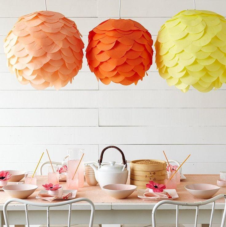Lampenschirme von Hängeleuchten mit Kreisen aus dünnem Dekopapier dekoriert