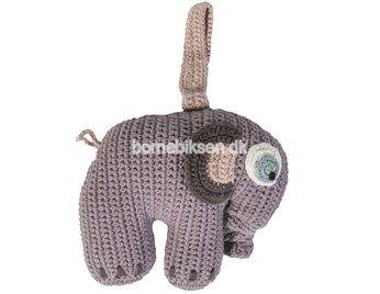 Sebra hæklet musikuro, elefant, pastel pige