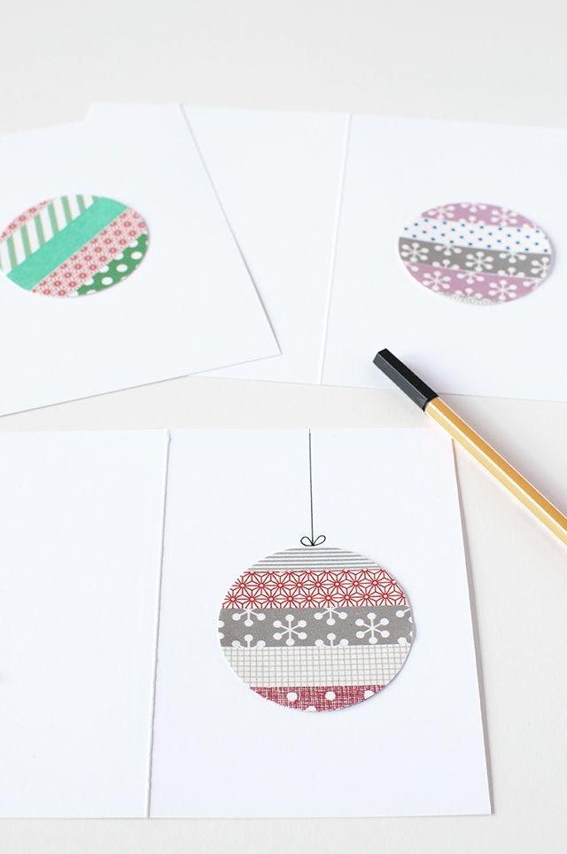 Haz tus propias tarjetas de Navidad con washi tape La Gata Con Botas