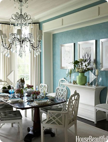 Create an inset in the dining room: trim with molding, and paint the inset....