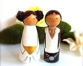 Star Wars Wedding Cake Cupcake Topper Blond Princess Leia and Hans Solo Bride and Groom Wooden Wood Peg Doll Geekery Cute Geeks Novelty. $45.00, via Etsy.
