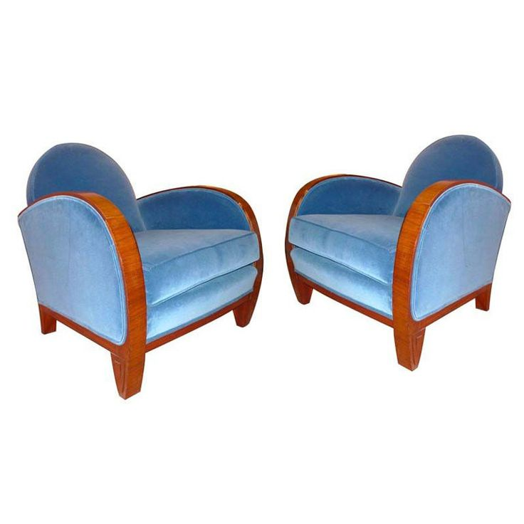 A pair of elegant French Art Deco club chairs by Louis MAJORELLE, from his late career - mid-1920's. Majorelle died in Nancy, France 1926. (hva)