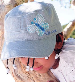 Girls Butterfly Glitter Mao » MikyB. One for girls of all ages. This hat is 100% denim look cotton with with a gorgeous glitter fleck all over. It also has an applique butterfly on one side. The hat is adjustable at the back. There is a hole at the back that allows for a ponytail to fit through.