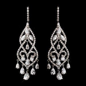 Dramatic Silver Plated Cubic Zirconia CZ Chandelier Bridal Prom Earrings
