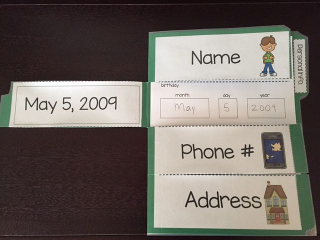 Personal information file folder practice!! $ Multiple options to choose from! Ideal for SPED or primary grades.