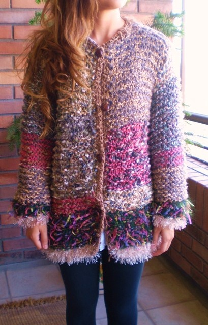 Chaleco grueso de lana, tipo chaquetón, tejido a palillo ...