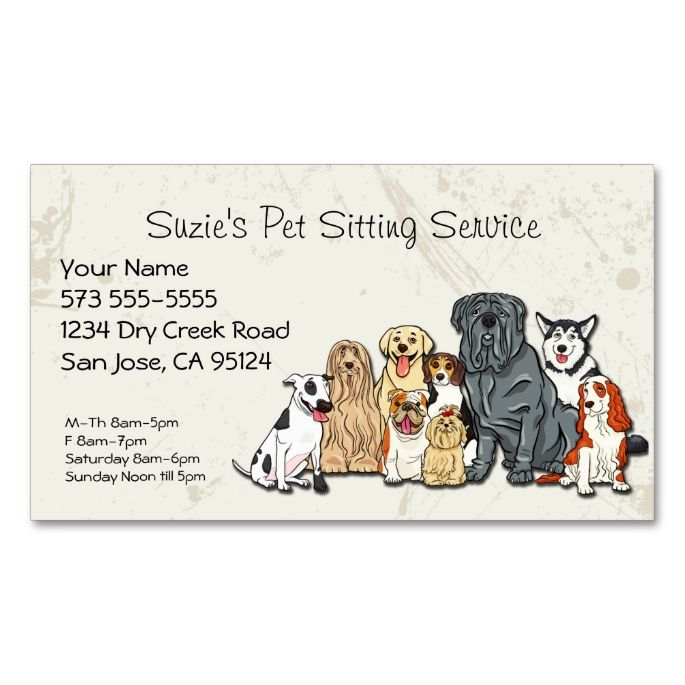 cute dogs pet sitting service business card it is places and texts. Black Bedroom Furniture Sets. Home Design Ideas