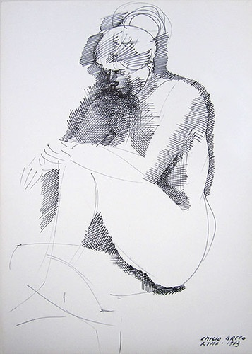 "EMILIO GRECO Signed 1963 Original Ink Drawing ""Seated Nude"" 