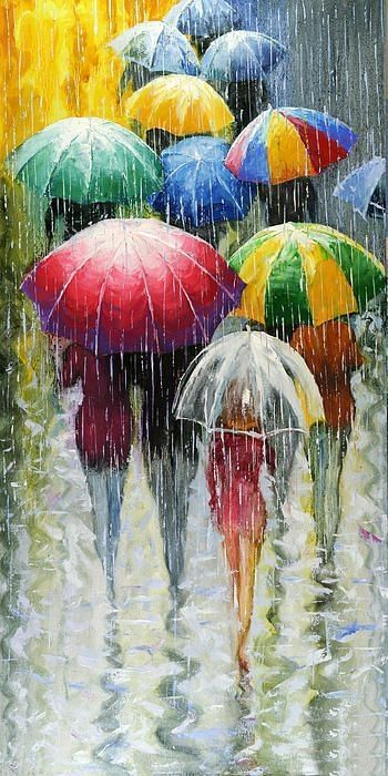 Romantic Umbrellas - Stanislav Sidorov  Cheery colors make this rainy day so fun! Description from pinterest.com. I searched for this on bing.com/images