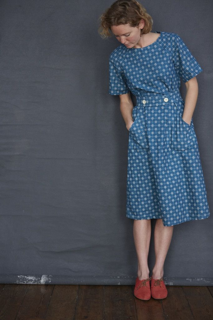Dress in Mrs. Wilberforce Petrol Blue.  Rather a 1940s look about it.