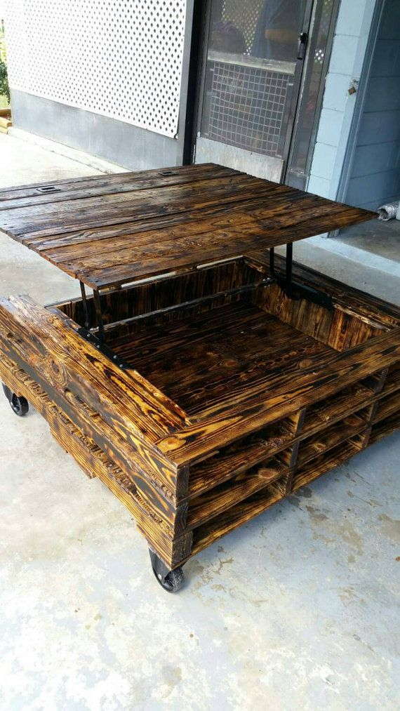 Lift Top Custom Pallet Coffee Table By Pallets4u On Etsy