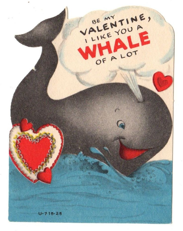 "CUTE WHALE SAYS ""I LIKE YOU A WHALE OF A LOT"" / VINTAGE VALENTINE GREETING CARD"