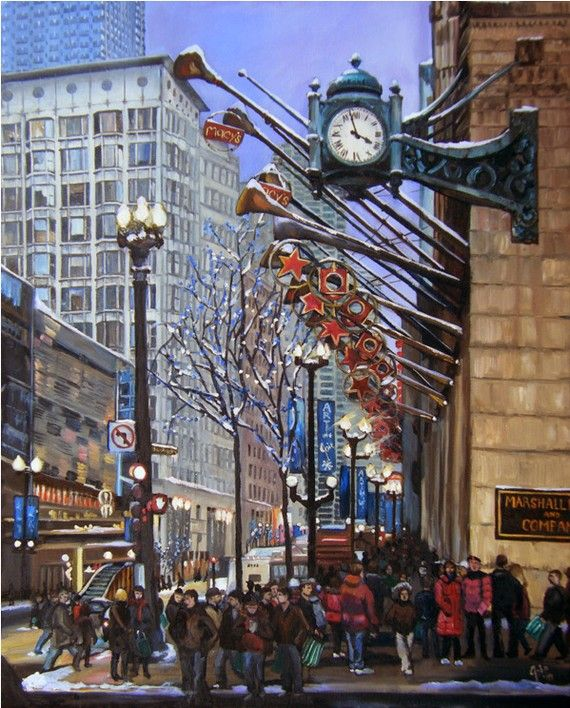 Marshall Fields, ChicagoMarshalls Fields, Christmas, Places, Chicago Mi Hometown, Chicago Beautiful, Oil Painting, Chicagomi Hometown, Chicago Holiday, Chicago Chi Town Windy Cities