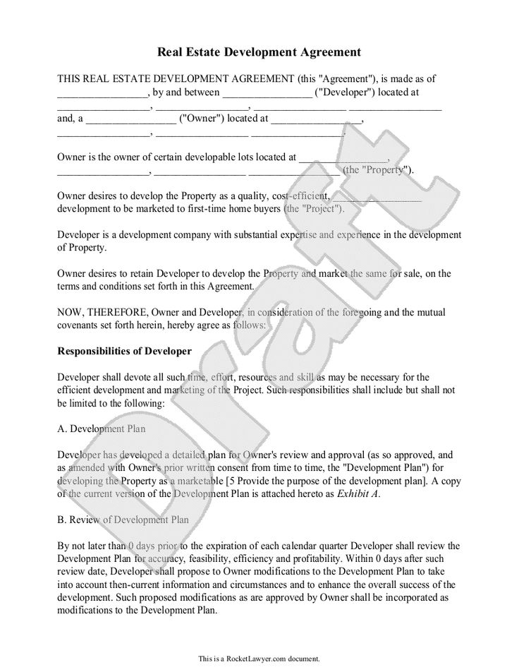 Real Estate Development Agreement Template  Contract With Sample