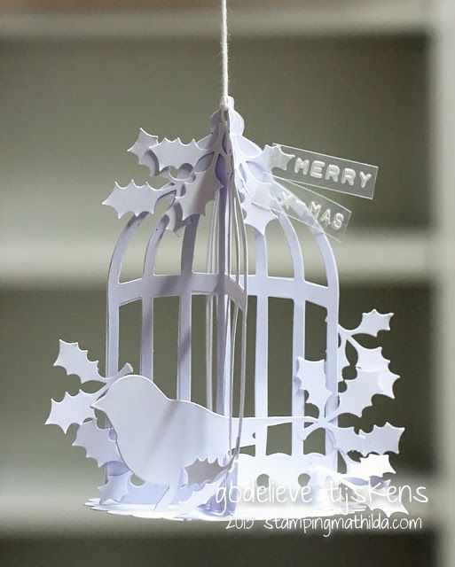 Gorgeous ornament made from die cuts from Godelieve Tijskens at…