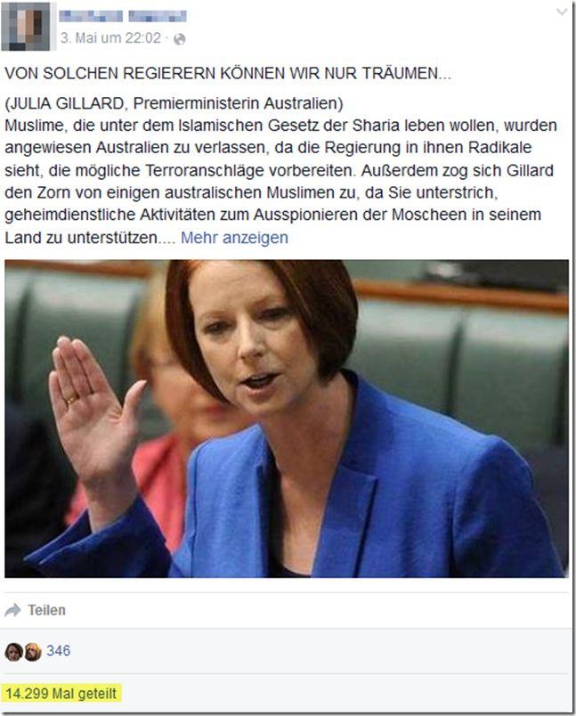 """""""Einwanderer, nicht Australier, müssen sich anpassen"""" – ein falsches Zitat von Julia Gillard  http://www.mimikama.at/allgemein/einwanderer-nicht-australier-mssen-sich-anpassen-ein-falsches-zitat-von-julia-gillard/"""