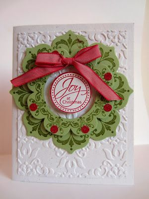 handmade Christmas card from Paper Seedlings: JOY ... beautiful wreath using Floral Framelits and Daydream Medallions ... luv Linda's attention to details ... circles of red glitter paper adorn the top layer ... beautiful!! ... Stampin' Up!