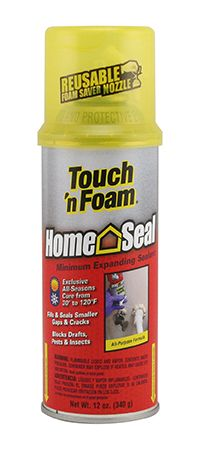 #airsealing Touch 'n Foam HomeSeal Minimum Expanding Sealant is an all-purpose foam that can be used for both indoor and outdoor applications. This foam will not expand as much as the MaxFill expanding formula, so it's better suited for smaller cracks and voids. Use Touch 'n Foam HomeSeal to fill small gaps in walls, around exhaust vents, plumbing fixtures, baseboards, sill plates, siding edges, skylights - wherever you need to control air leakage to prevent energy loss.