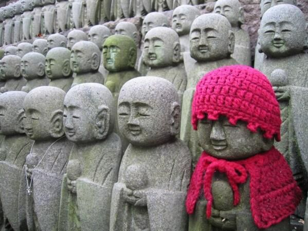 Yarn bombing in Kamakura - This has been going on for centuries in Japan - people love to dress jizo statues. Perhaps it is because they are of children, and people hate to see children cold in winter...