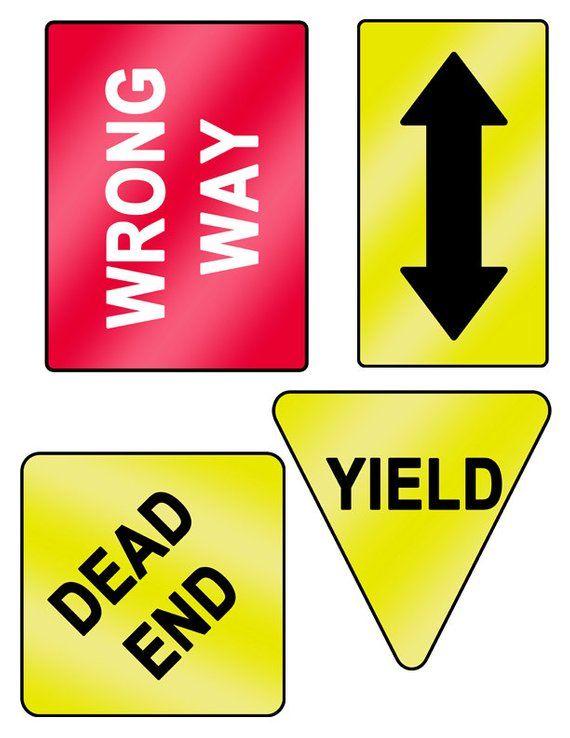 Digital Download Set Of 18 Printable Road Signs Etsy Road Signs Printable Signs Paper Party Supplies