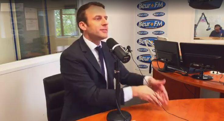 VIDÉO - Sur Beur FM, pensant être hors antenne, le candidat à l'élection présidentielle a défendu Mohamed Saou, un cadre d'En Marche! qui s'est présenté lui-même comme n'étant «pas Charlie» au lendemain des attentats de janvier 2015.