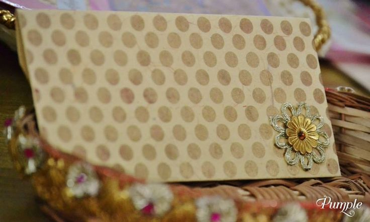 Shagan Envelope (Money Favour Envelope) Gold Polka Dots on Beige Envelope Pack of 2  Handcrafted  Size - 7.25 inches by 3.5 inches