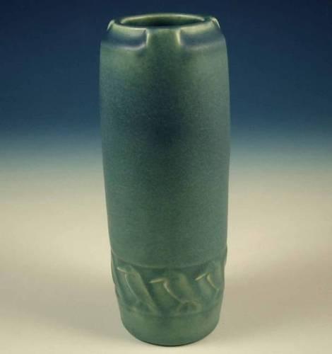 Rookwood Pottery Blue Matte Glaze Rook Vase 1815 Art Nouveau Deco Bird Crow NRCIRCA 1914