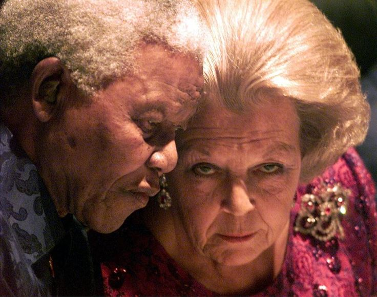 Nelson Mandela (18 July 1918 — 5 December 2013) and Queen Beatrix of the Netherlands, on his 85th birthday