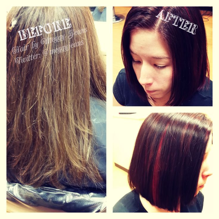 Before and after.  Instagram @meggyjeans_   #hairbymeggyjeans #Red #Brown #Brunette #Bob #short #hair #Hairstylist #colour #hairstyle #Before #after