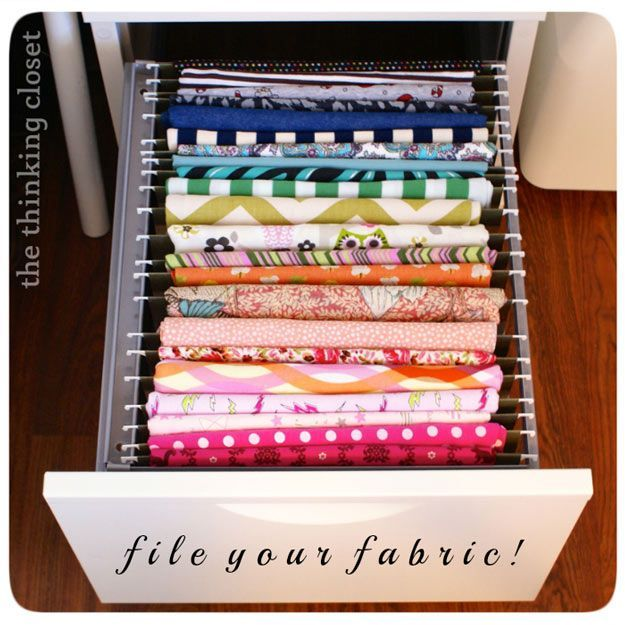 Sewing Hacks | Best Tips and Tricks for Sewing Patterns, Projects, Machines, Hand Sewn Items. Clever Ideas for Beginners and Even Experts | File and Organize your Fabric | http://diyjoy.com/sewing-hacks