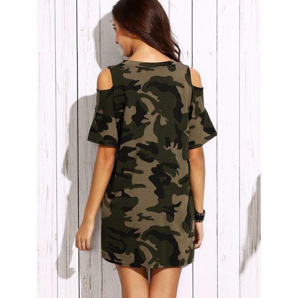 SheIn(sheinside) Olive Green Open Shoulder Camo Dress ($17) ❤ liked on Polyvore featuring dresses, camo dresses, short brown dress, short-sleeve shift dresses, camouflage dresses and short-sleeve dresses