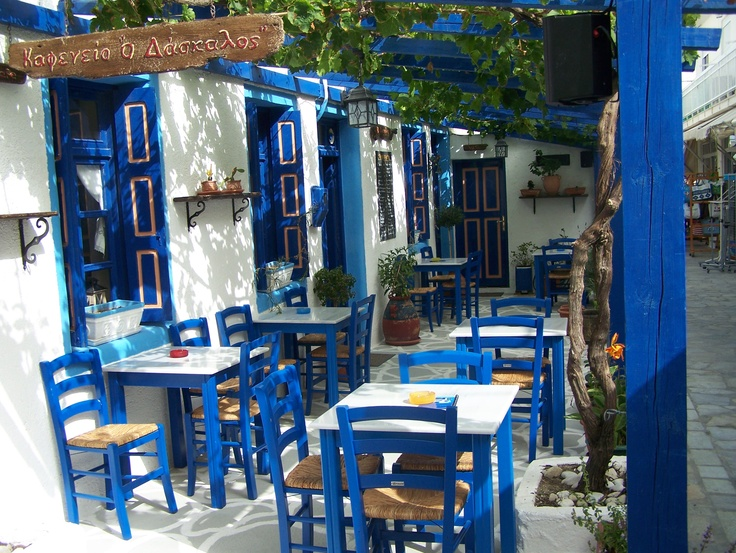 Amazing little traditional Greek Cafe in Kardamena, Kos.... It has been beautifully and lovingly restored and is named Teachers as it is owned and run by a teacher and his students. For more information on this beautiful cafe take a look on www.kosexplorer.com
