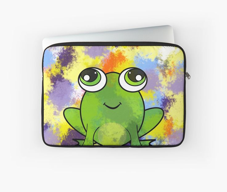 A colorful #laptop #sleeve with a cute frog. Perfect for kids and young-at-heart adults. @redbubble