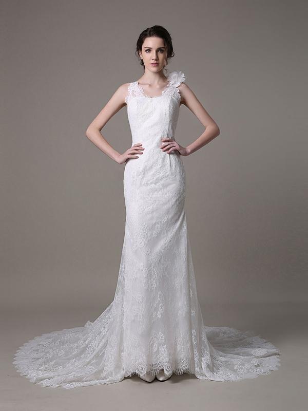 Dos nu robe de mariée en dentelle robe classique à traîne watteau [#ROBE2012982] - robedumariage.com